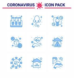 9 blue coronavirus disease and prevention icon vector