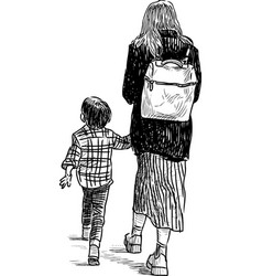 a sketch young woman with her kid going on a vector image