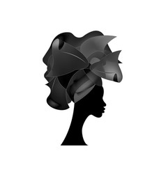 African wedding hairstyle head wrap black turban vector