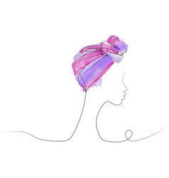 Afro woman continuous line and drawing watercolor vector