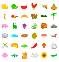 agricultural icons set cartoon style vector image