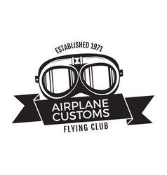 airplane customs emblem logo template flying club vector image