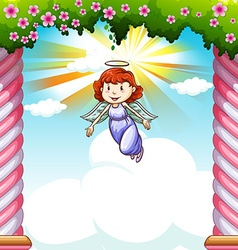 Angel flying in the sky vector image