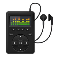 Audio player music device with headphones vector