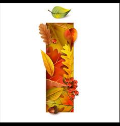 autumn stylized alphabet with foliage letter i vector image