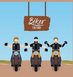 Biker culture poster with motorcyclists gang vector