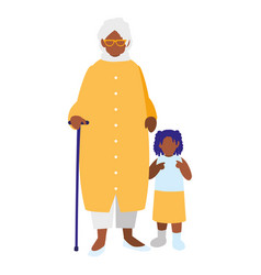 Black grandmother with granddaughter vector