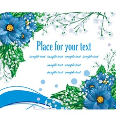Blue Floral Background with Text Space vector
