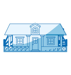 blue shading silhouette of country house with vector image