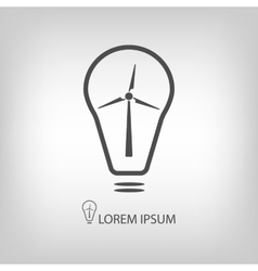 Bulb with wind turbine as eco energy symbol vector image