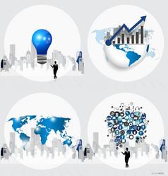 Business concept with businessman bulb graph cloud vector image