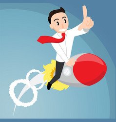 Business man riding on a rocket vector