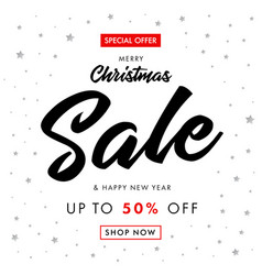 calligraphy christmas sale happy new year banner vector image