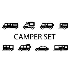 Camper van icons vector