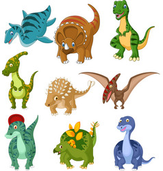 cartoon dinosaurs collection set vector image