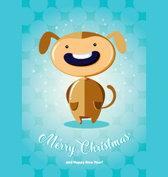 Christmas card with boy in dog costume vector