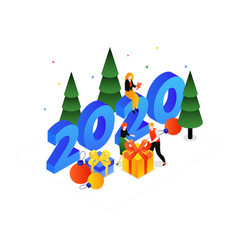 christmas holiday celebration colorful isometric vector image