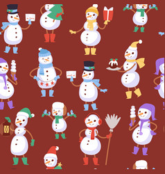 christmas snowmen seamless pattern and vector image