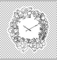 Clock wreath sticker ornate vector