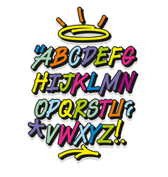 Colorful graffiti font and decorations alphabet vector