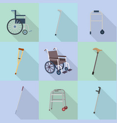 Crutches icon set flat style vector