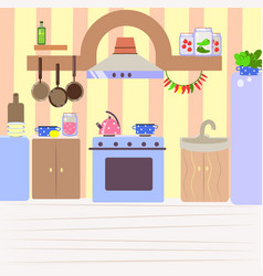 cute cozy kitchen flat cartoon interior vector image