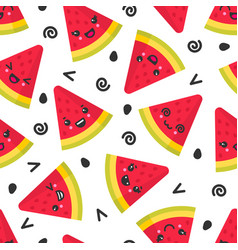 cute smiling watermelon seamless pattern vector image