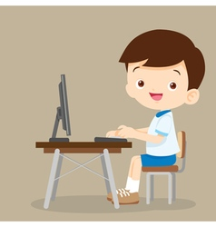 cute student boy working with computer vector image