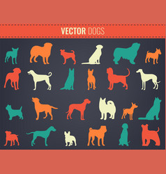 Dog breeds silhouettes dog icons collection vector