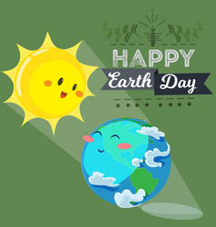 Earth day happy sun heats earth with its yellow vector