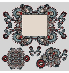 Ethnic ornamental floral adornment and frame vector