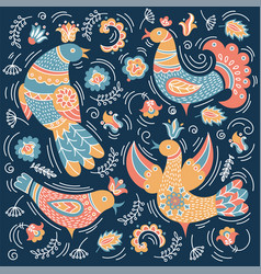Ethno bird decorative folk ornament print vector