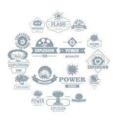 explosion power logo icons set simple style vector image