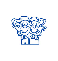 familyhappy parents and children line icon vector image