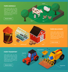 farm horizontal banners collection vector image