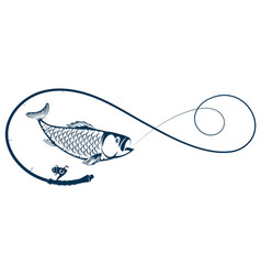 fishing rod and fish on a hook silhouette vector image