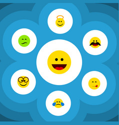 Flat icon expression set cheerful frown vector