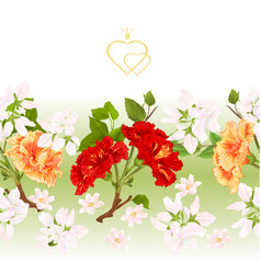 Floral border seamless background hibiscus vector