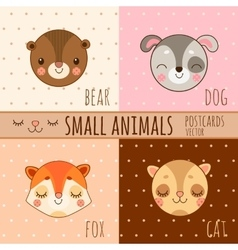 Four simple cartoon images head of animals vector