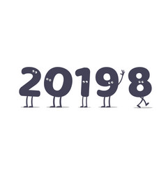 Funny cartoon 2019 new year vector