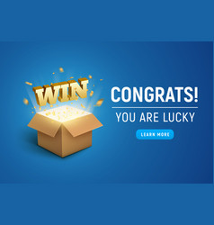 Gift prize box lottery win text magic box present vector