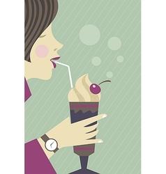 Girl drinking milkshake vector image