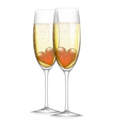 glass champagne with heart vector image