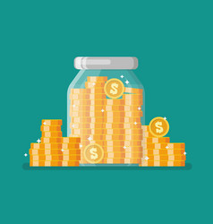 glass jar full gold coins vector image