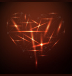 glowing shape of the heart vector image
