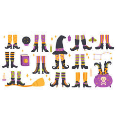 halloween witch legs funny witch legs in striped vector image