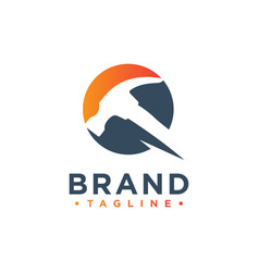 Hammer building logo design vector