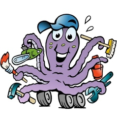 Hand-drawn of an Happy Busy Octopus Handyman vector image