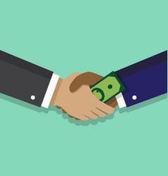 handshake and bribe vector image