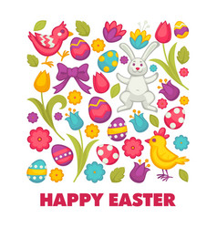 happy easter religious holiday bunny and chicken vector image